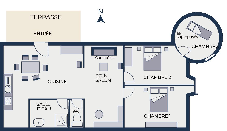 plan gîte 14 - Chateau de Chaussy